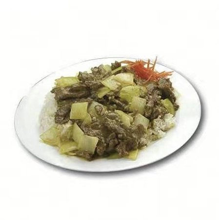 Beef and onion stir fry served with rice