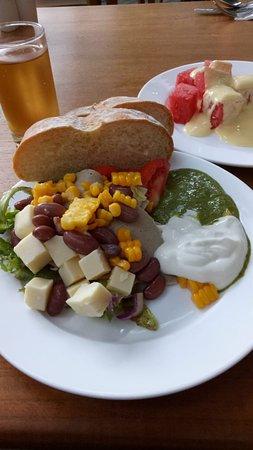 salad...fruit and yogurts