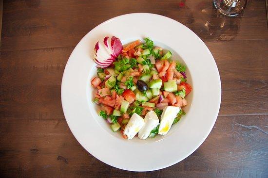Shepherd (Diced cucumbers, tomatoes, onions, feta cheese, and lemon olive oil.)