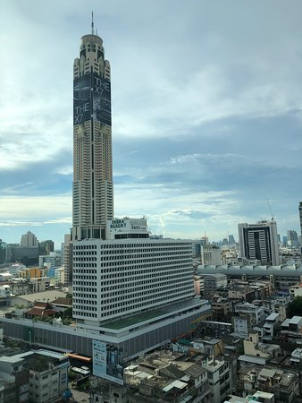 View of the Bayoke tower and Indra Square shopping mall from the deluxe twin room.