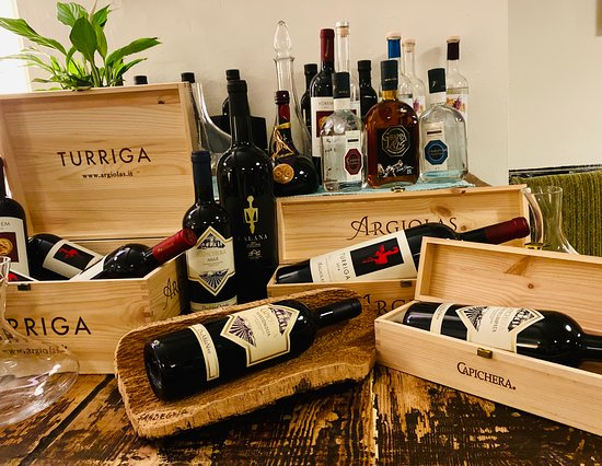Wide selection of Sardinian wines available to enjoy here with high wine service,  or to take away at 30% off