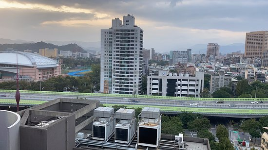 Hotel room view including sports centre of National Taiwan University