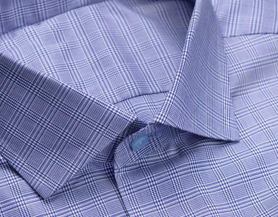 Blue on blue check shirt that goes can be worn as a business or casual shirt.