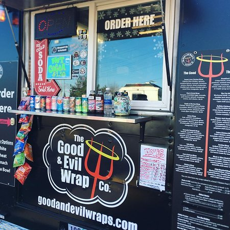 ARE YOU GOOD OR EVIL?  Check out the selection of wraps and bowls at Good and Evil Wrap Co. Vegetarian options too.  Open until 7 pm.