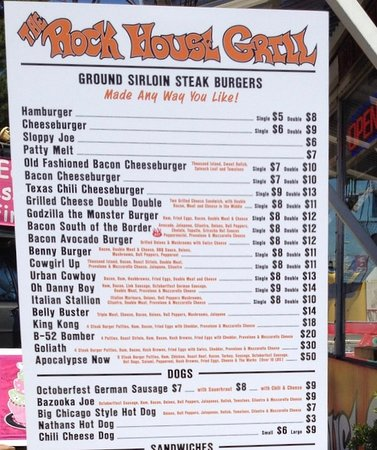 Just half of the amazing menu at Rock House Grill.  Burgers and more