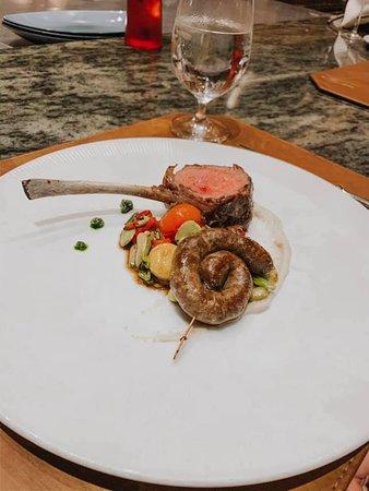 lamb chop with lamb sausage