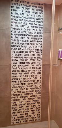 Poem in the shower stall.