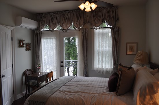 Mount St. Helena Room overlooking the Russian River through it's Juliette Balcony here at the River Belle Inn