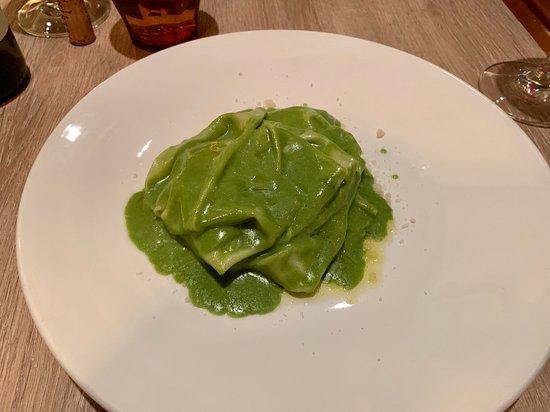 Mandilli--handkerchief egg pasta, almond basil pesto, ligurian olive oil--The Factory Kitchen--3355 Las Vegas Blvd. S--Las Vegas, NV