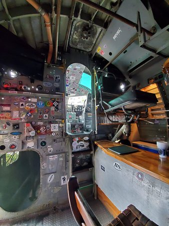 View of the cockpit from the plane bar.