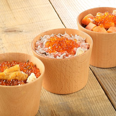 ミニ鮭いくら丼、ミニ蟹いくら丼、ミニうにいくら丼
