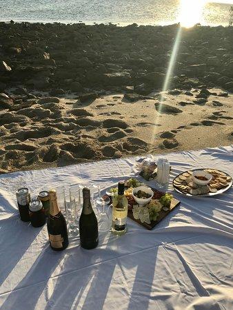 cheese platter for sunset on Langford sandbar