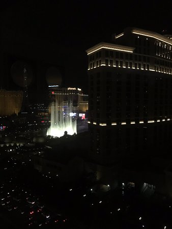 From our room toward the Strip and the Bellagio fountains.