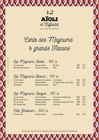 Carte des Magnums etc ...