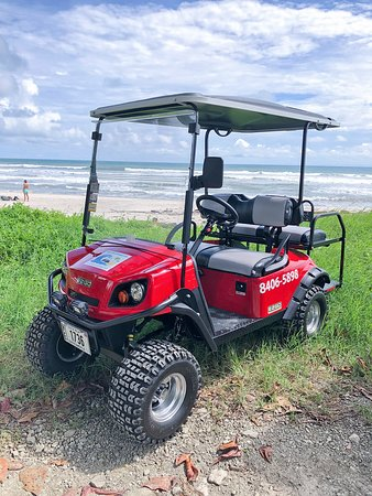 4 Seater gas golf cart with bluetooth speakers and LED lights.  Surf racks available.