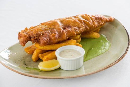 Fish & Chips, battered haddock, thick cut chips, mushy peas, tartare sauce