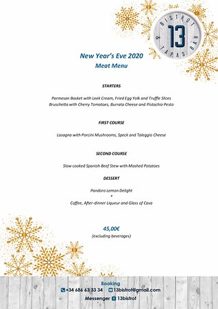 13 Bistrot & Tapas Bar: New Year's Eve Menu - Meat Menu
