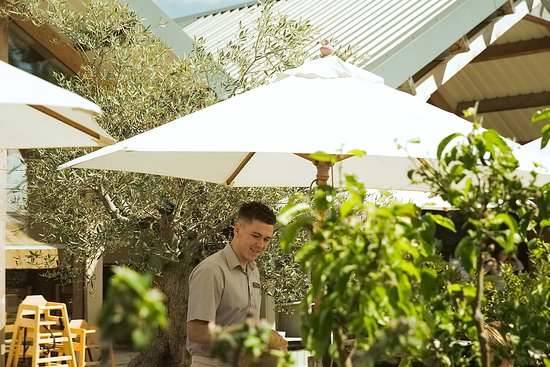 The Farmer's Kitchen has a large outside seating are where you can enjoy lunch in the sun or the shade.