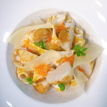 Pappardelle pasta with scallops, trout roe and vodka sauce