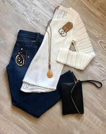 Flying Monkey Jeans, Ivory Sweater, Clutch, Jewelry