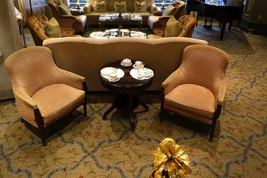 Le Salon @ The Windsor Court, 300 Gravier St., New Orleans, in the Lobby of the Windsor Court Hotel in the Central Business District of New Orleans - Set Up for Holiday Afternoon Tea