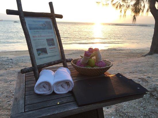 beach bar with sunset