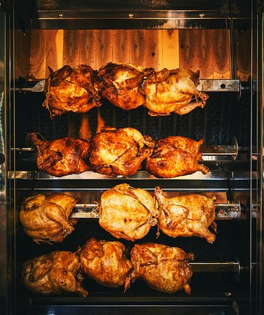 Rotisserie chickens, available all day