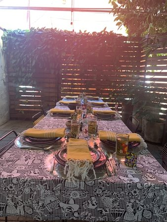 The beautiful set table were we dined!