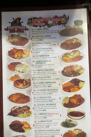 Page 1 of menu. Restaurant San Juan, Port A, 11/25/2019