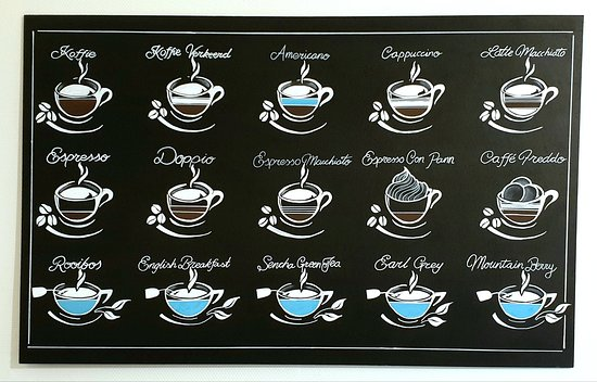 Coffee break or time for tea? Use our handy guide to help select your favourite beverage!