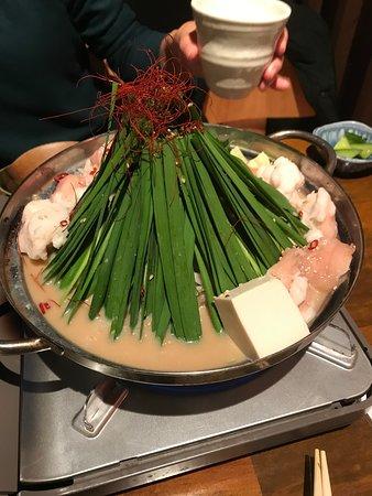 もつ鍋とんこつ醤油味 野菜マシマシ(無料!)