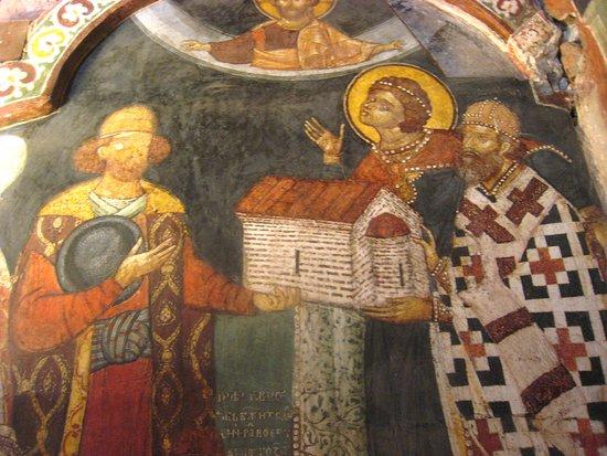 Boyar presenting model of church to St. George