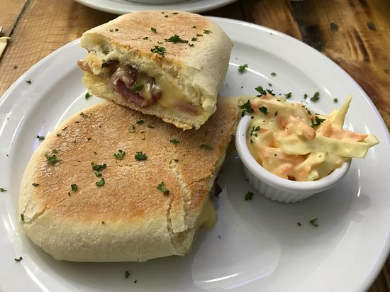 Toasted ciabatta with bacon and brie