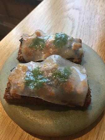 Wild garlic toast, lardo, charcoal emulsion