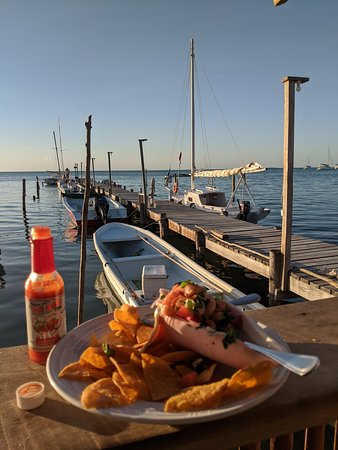 Shrimp ceviche at sunset at the Pelican Sunset