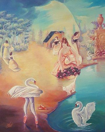 "Swan lake - Tchaikovsky Portrait Oil on canvas 24""x30"""