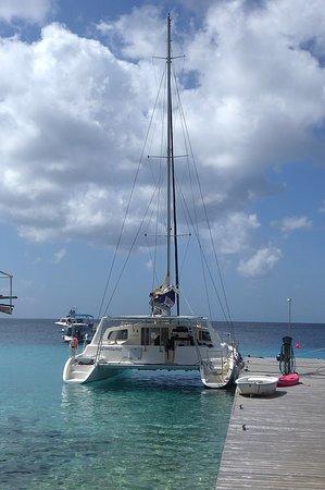 Catamaran docked at end of pier.