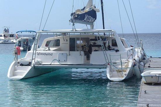 Woodwind catamaran used on snorkeling excursion