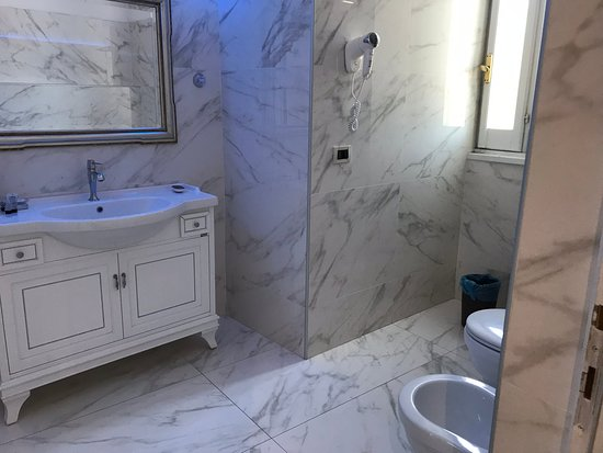 The largest newly renovated bathroom with shower, toilet and bidet