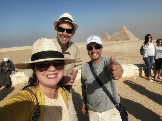 At the Giza pyramids with our Cairo guide, Sa'id!