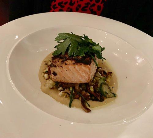 Grilled Alaskan King Salmon--Smoked Corn puree, Golden Chanterelles, Patty Pan Squash, Fines Herbes Salad--Ostra--1 Charles St.--Boston, MA