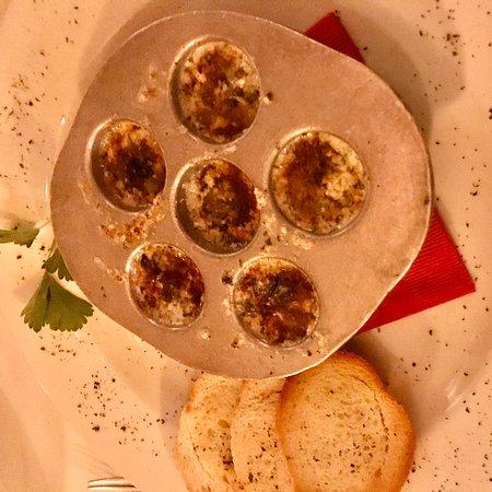 Dinner 12/6/19; burrata salad, veal chop, escargot