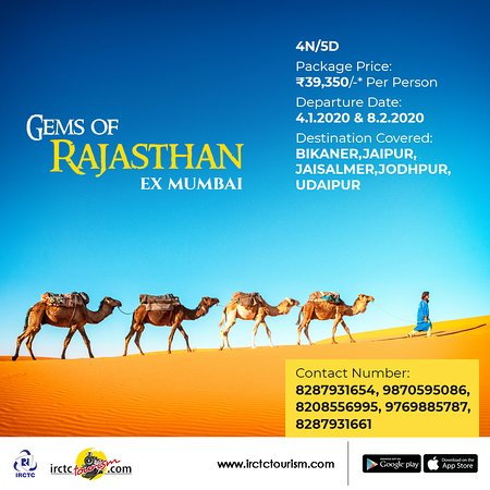 India: What's there to not love about #Rajasthan! Ancient #palaces, #royal #Havelis, vibrant people & a landscape that's as diverse as its #culture. Explore this gem of a place with #IRCTC's Gem of #Rajasthan_package. To book, visit http://bit.ly/2NPEGxk