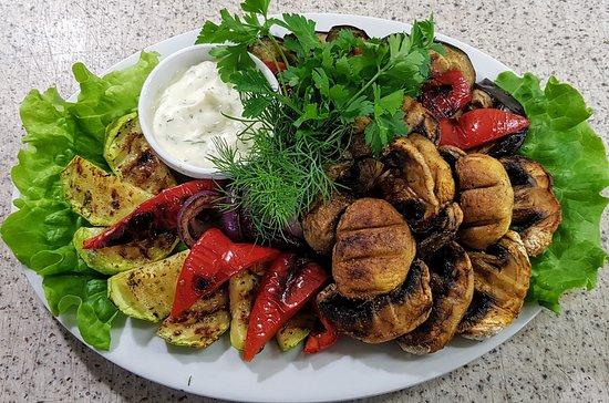 Мангал-меню. Овощи с грибами.
