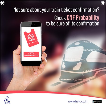India: Planning a #travel but doubt you'll get confirmed train tickets due to #festive season rush? Check the chances of confirming your wait-listed #tickets while making #train bookings. To know more, visit: www.irctc.co.in #IRCTC #CNFProbability