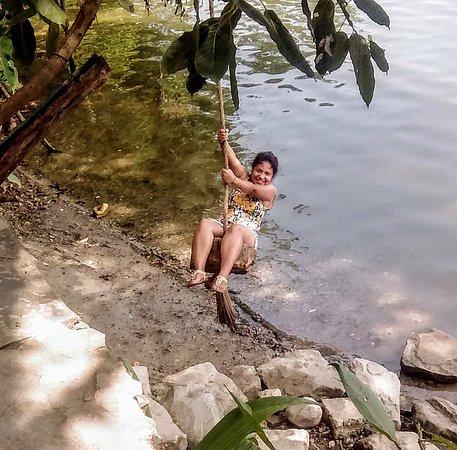 Radha playing in Lake Fewa close to our retreat.
