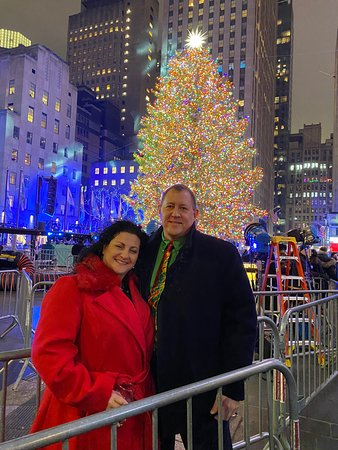 Rockefeller Center Holiday Tree Lighting Gala with Private Viewing Area: The long-awaited picture by the tree, what a great experience.
