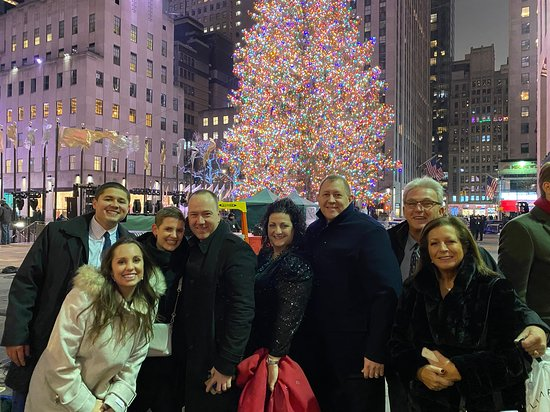 Rockefeller Center Holiday Tree Lighting Gala with Private Viewing Area: Our group of friends we met at the dinner table!  What a great evening meeting new people.