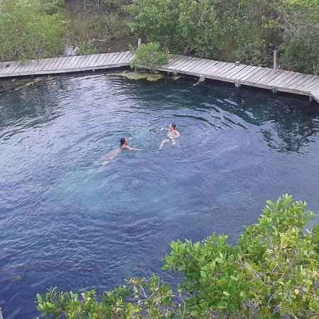 Holbox Island, Mexico: YALAHAU, es un nacimiento de agua dulce ubicado en la isla de holbox, en el cual la única forma de llegar es en lancha, es conocida como el agua del rejuvenecimiento ya que contiene minerales naturales que ayuda a nuestra piel a regenerarse.