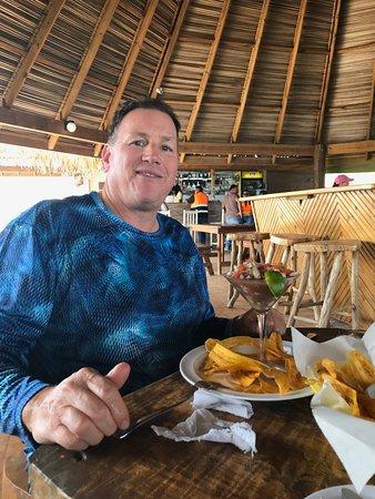Roatan Shore Excursion: Monkeys, Sloths, and Snorkel Adventure: Enjoying fresh Ceviche!